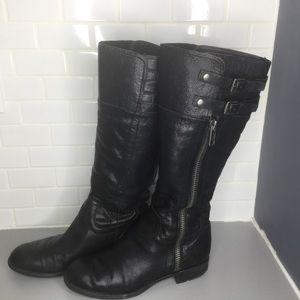 Franco Sarto Poet black leather  boots SZ 8.5